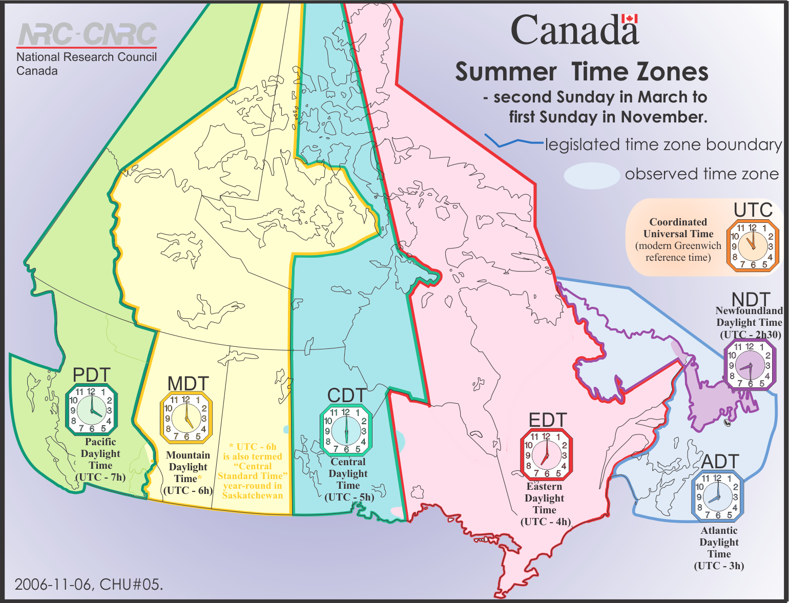 Summer Time Zones - Canada
