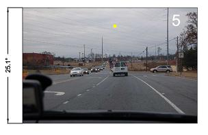 driver's view photo with sun position superimposed