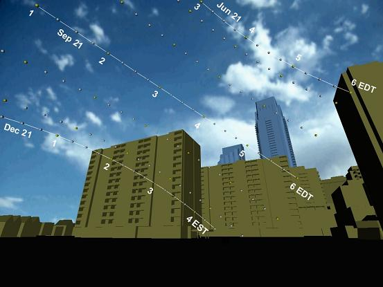 graphic showing street level view of existing and proposed high-rise buildings with monthly sun paths superimposed