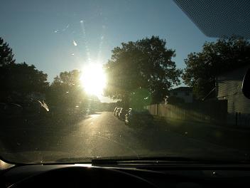 photo of dark shadows along road