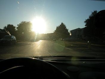 photo of sun glare ahead, dark shadows on side of road