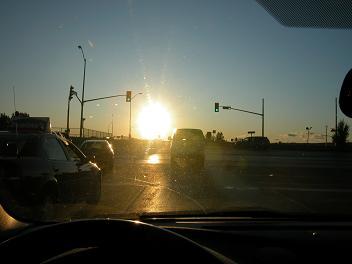 photo 2 - sun glare obscuring traffic signal