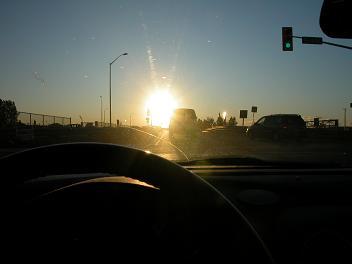 photo 3 - sun glare obscuring traffic signal